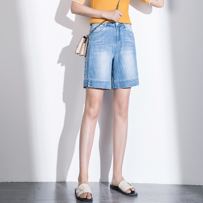 2019 Women summer vintage pants knee length   jeans   female denim pants 9F07