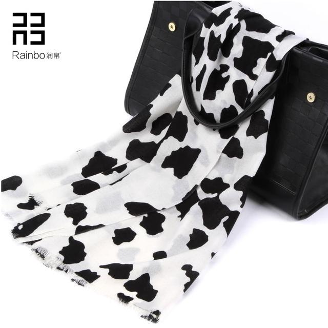 62016 nova moda preto e branco padrão vaca lã cachecol feminino outono inverno marca de alta qualidade de impressão xale
