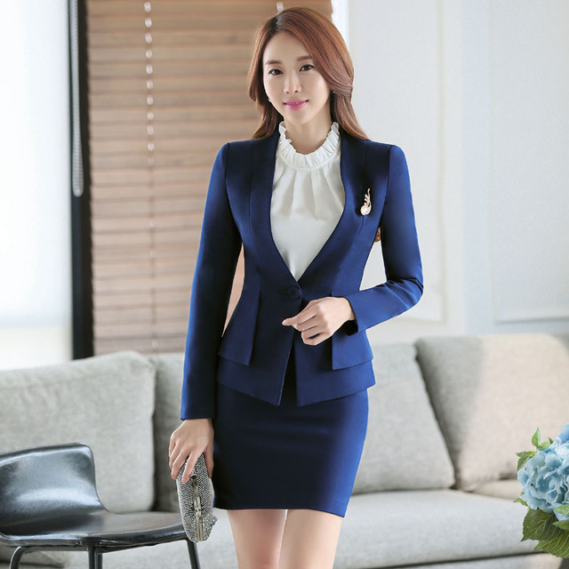 5280730258a Novelty Blue Formal Uniform Design Professional Business Women Career Suits  With Jackets And Skirt Ladies Blazers