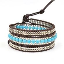 Triple Leather Bracelets & Bangles Blue Natural Stone Beads Wrap Bracelet Women Boho Charm Jewelry