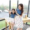 Family Set Fashion Denim Dress Clothes for Mother and Daughter Family Clothes Girls Dresses Clothing (Colors: Navy/White), CG15