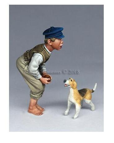 1/35 Little Boy And Dog     Resin Model Miniature  Figure Unassembly Unpainted