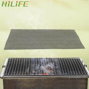 HILIFE Steamer-Mat Grilling-Mat Barbecue-Grid Non-Stick High-Temperature-Resistance Black