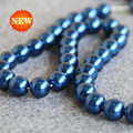 2015 New 8-14mm Dark Blue Shell pearl beads Seashell DIY gift for women girl loose beads Jewelry making design 15inch Wholesale