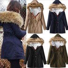 Зима Длинные рукава Горячие куртки женщин основной теплый пальто с меховая Шапка талии поясом расслоение осень искусственный кашемир длинные пальто