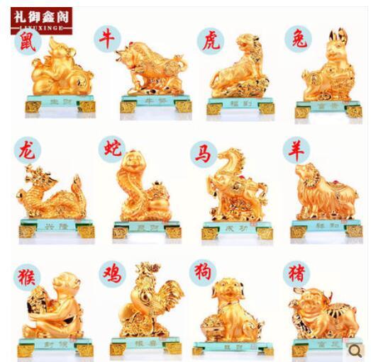 Nouvel An lunaire résine animal rongeur tigre lapin dragon serpent cheval mouton singe chien coq cochon artisanat sculpture statues