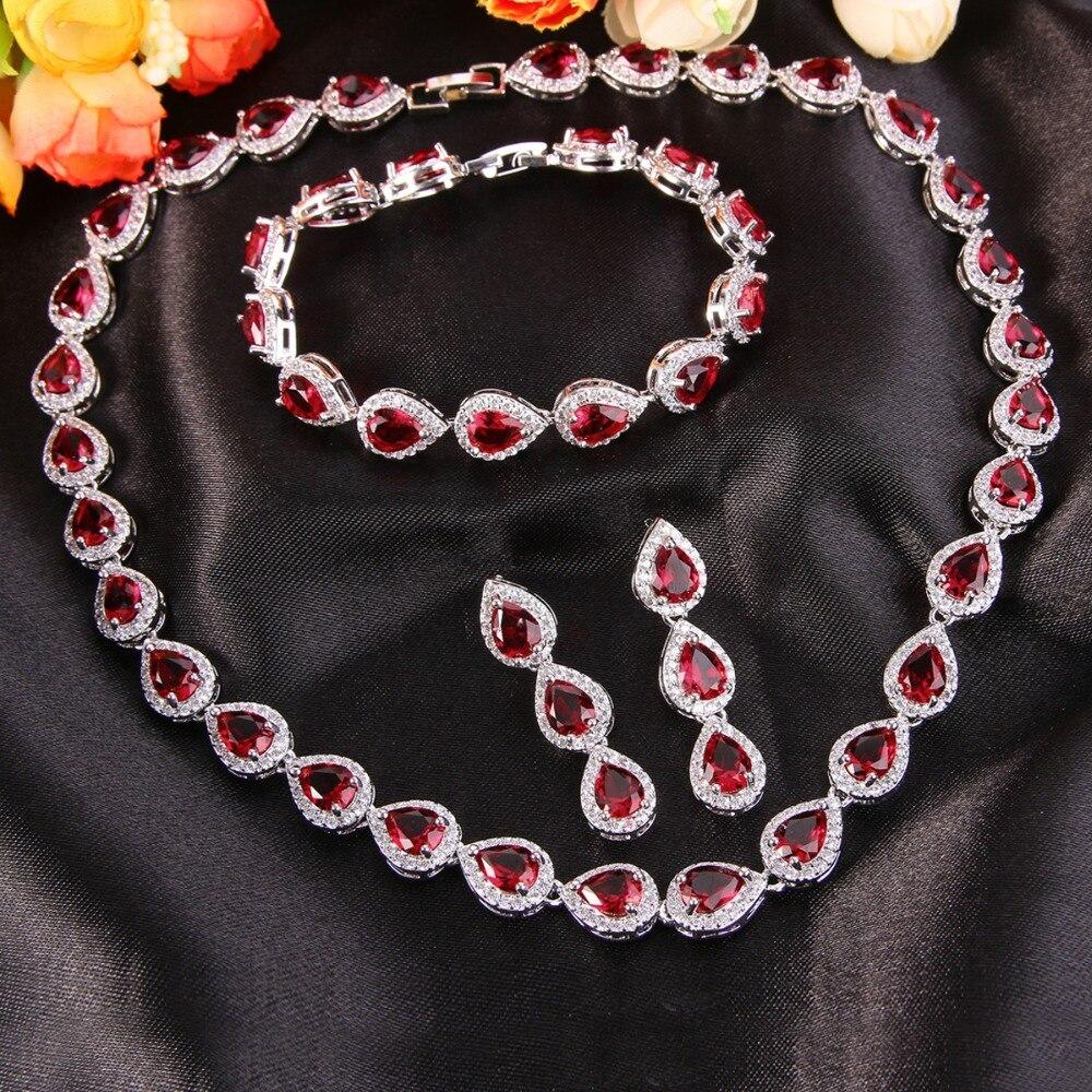Tuliper bleu rouge argent plaqué collier boucles d'oreilles Bracelet ensemble cubique Zircon mariée bijoux ensemble pour mariage demoiselle d'honneur fille