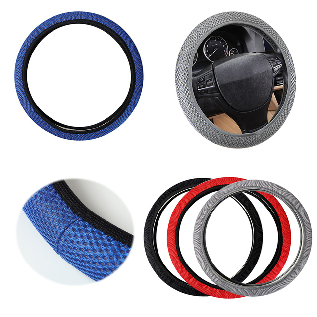 Dewtreetali Universal Car Steering Wheel Cover Breathable Sandwich Fabric Steering Wheel Protector Auto Decoration Car Styling