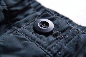 Image 4 - Marka Plus size męskie spodnie bojówki grube ocieplane spodnie zimowe pełnej długości kilka kieszeni dorywczo wojskowe taktyczne spodnie