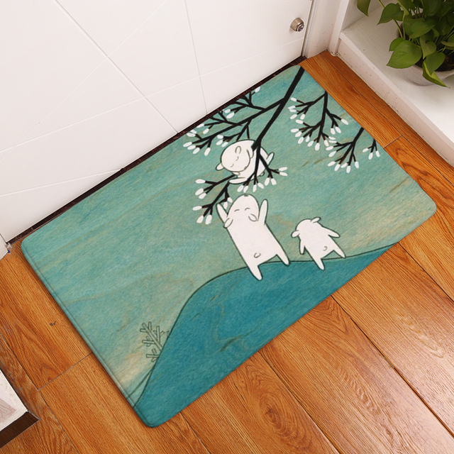 welcome floor mat white and rabbit printing flannel carpet forwelcome floor mat white and rabbit printing flannel carpet for living room 40x60cm 50x80cm kitchen rug non slip tapete