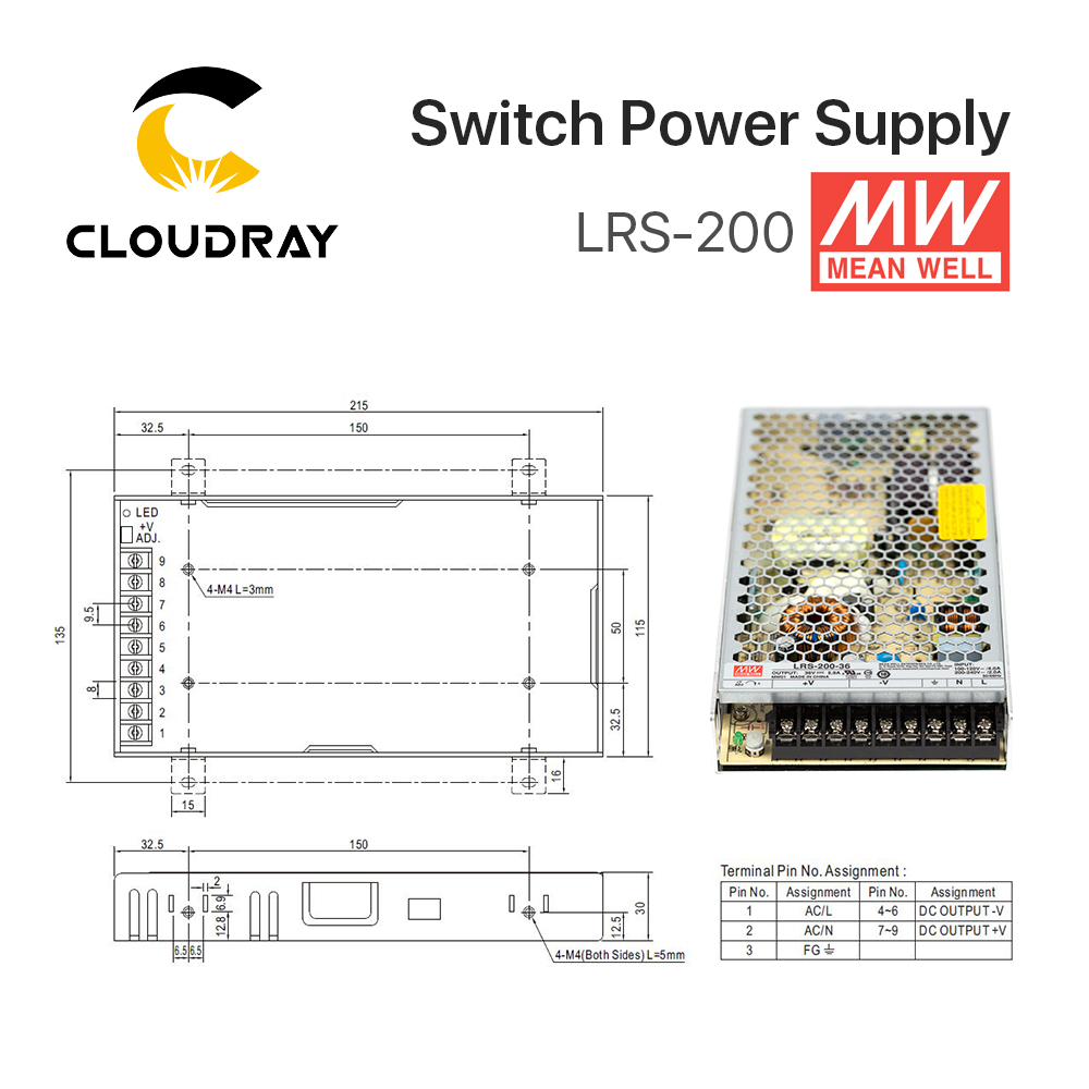 Meanwell Lrs 200 Switching Power Supply 12v 24v 36v 48v 200w 0 Circuit Diagram Original Mw Taiwan Brand 24 In From Home Improvement On