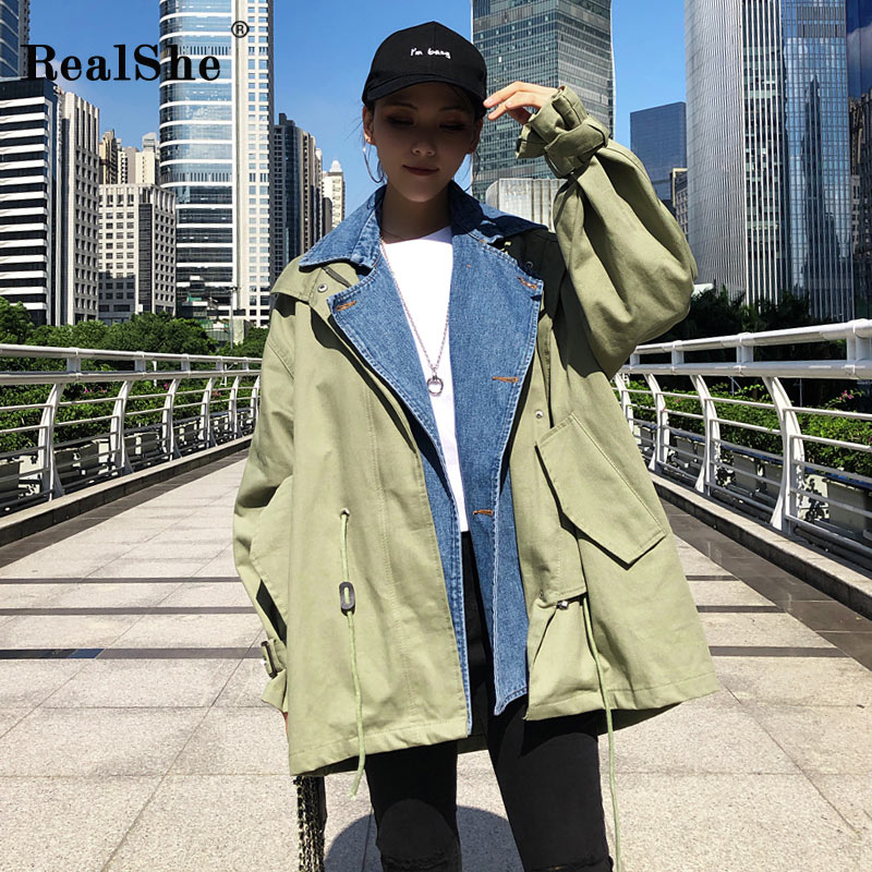 Trench Elegant 2018 Feminino Fashion Long Denim Autumn Outerwear Coat Batwing Sleeve Women Patchwork For Realshe nF0UdPxqU