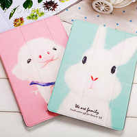 Schöne Kaninchen Schwein Cartoon Tablet Abdeckung Für 2017 Neue iPad 9,7 Air 1 2 Stehen Shell Anti drop/Staub für iPad 2/3/4 Mini 1 2 3 4 Fall