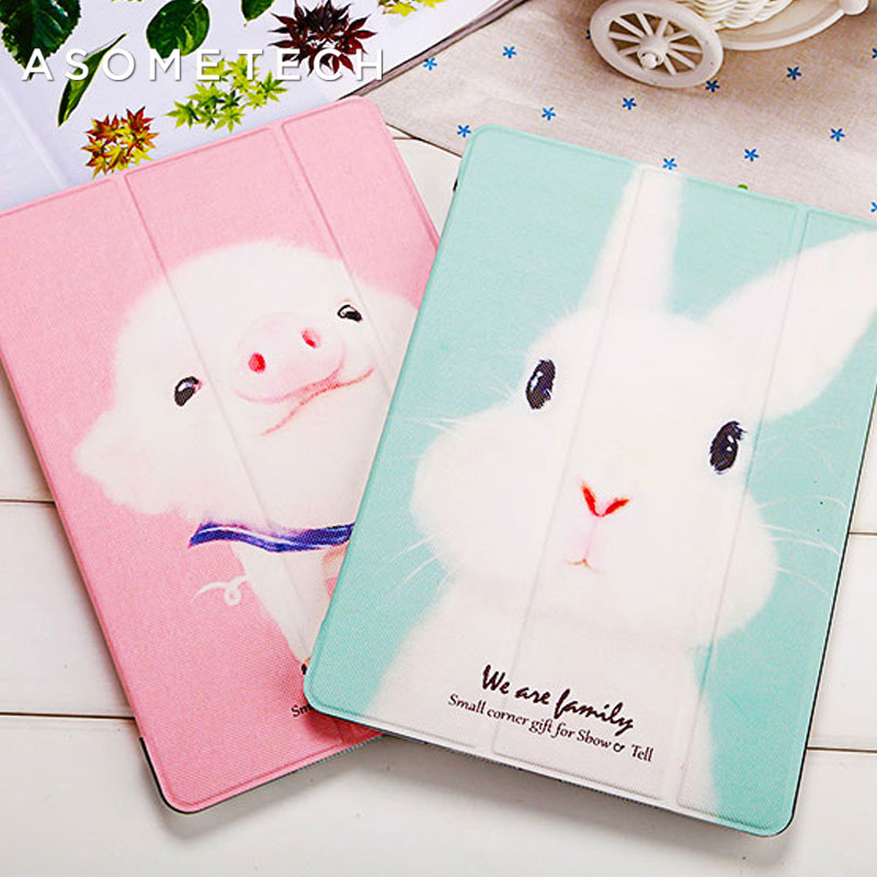 Lovely Rabbit Pig Cartoon Tablet Cover For 2017 New IPad 9.7 Air 1 2 Stand Shell Anti Drop/Dust For IPad 2 3 4 Mini 1 2 3 4 Case