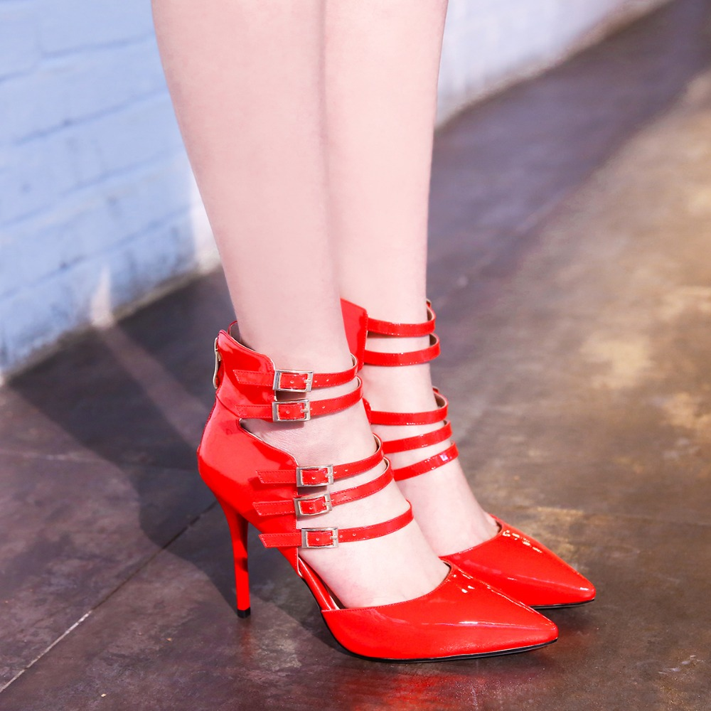 Ladies fashion pointed toe ankle strap sexy shoes Women stiletto high heel pumps female black red cutouts spring footwear Y507 2015 temperament high heel women pumps rhinestone ankle strap pointed toe ladies wedding shoes