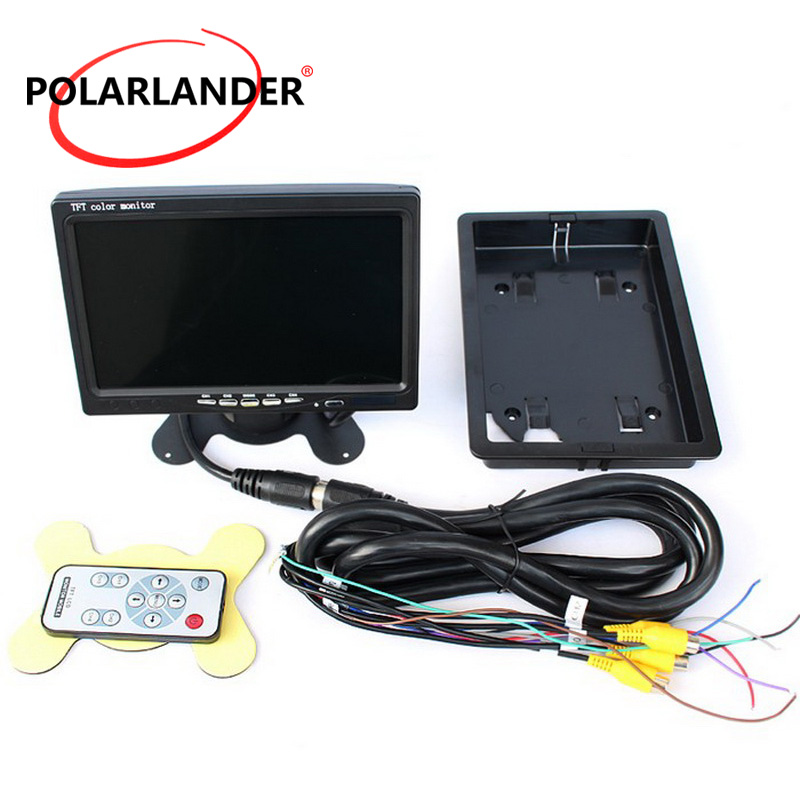 PolarLander Car Video Monitor For Front Rear Side View Camera Quad Split Screen 6 Mode Display 7 LCD 4CH Video input DC12V 24V