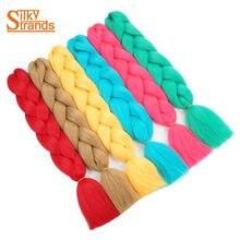 Silky Strands 1PC Kanekalon Braiding Hair Extensions 24inch 100g/pack Synthetic Jumbo Braids Bulk Pink Blue Blonde Grey Colors