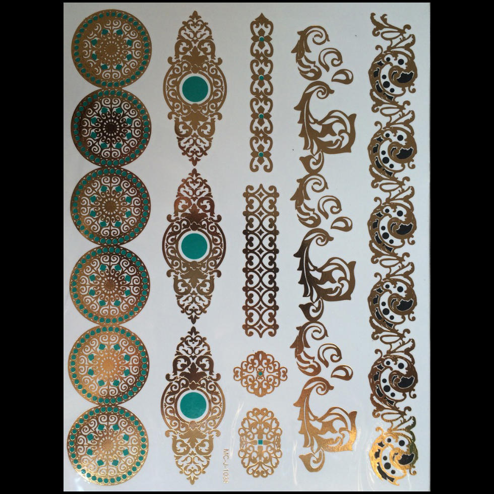 Us 088 Tijdelijke Tattoos Gouden Ketting Armband Tattoo Producten Metalen Tijdelijke Tattoo Vrouw Tattoo Flash Metalen Van Nep Goud En Silve In