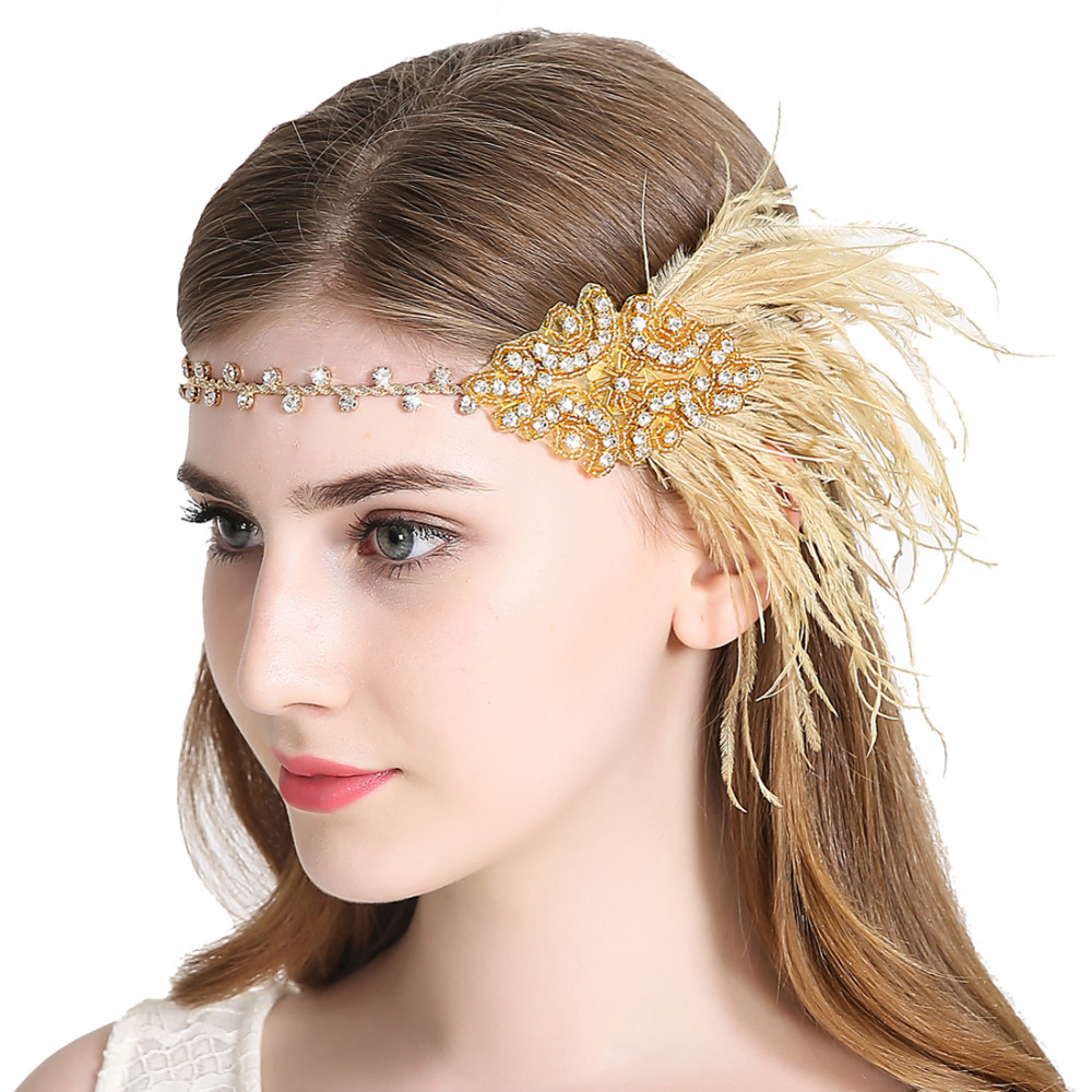 Vintage Flapper Feather Headband 1920s Sparkling Gatsby Hairband Women Feather Headpiece Hair Accessory for Party Prom headpiece
