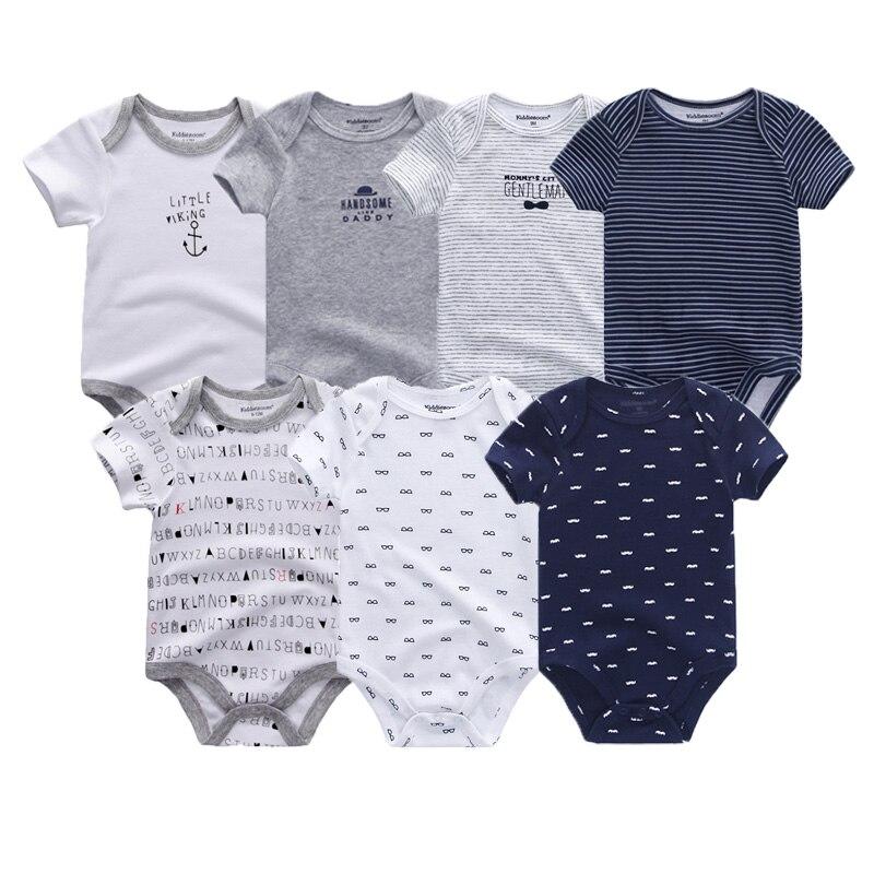7 PCS/lot Baby Bodysuits Uniesx Top Quality Baby Jumpsuit O-Neck 0-12M Cotton Summer Children Clothing Roupa De Beb Baby Clothes