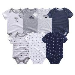 7 шт./партия, Детские боди, uniesx, высококачественный Детский комбинезон с круглым вырезом, летняя хлопковая одежда для детей 0-12 месяцев, roupa de ...
