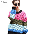 Brand Colorful Knitted Sweater 2016 Spring Autumn Women Sweaters And Pullovers High Elastic Female Tricot Jumper Pull Femme