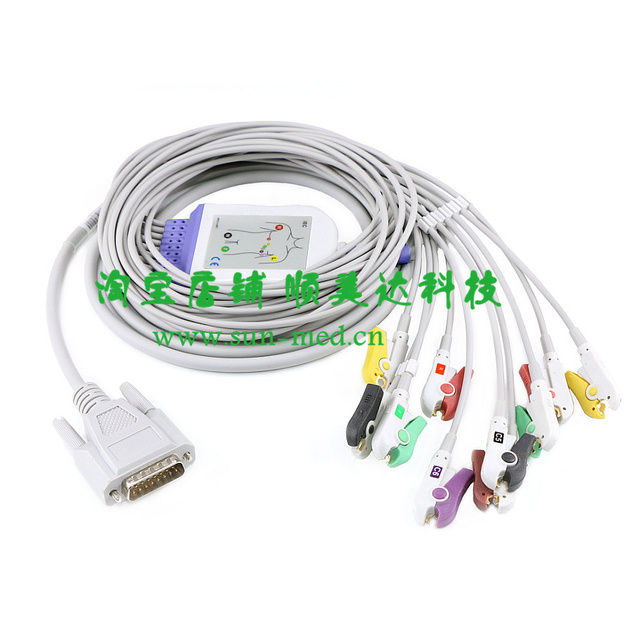 Kompatibel ekg kabel mit 10 ableitungskabel, ekg patientenkabel für ...