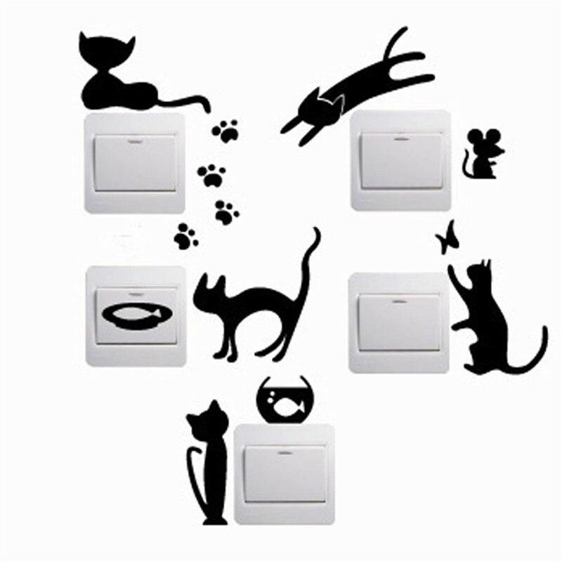 5 unids/set Encantador Lindo Gato Interruptor Etiqueta de La Pared del Vinilo De