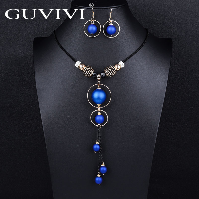 Guvivi Statement Round Ball Long Necklace Earrings Sets for Women New Fashion Jewelry Set Wholesale Sweater Necklaces Sets Gifts
