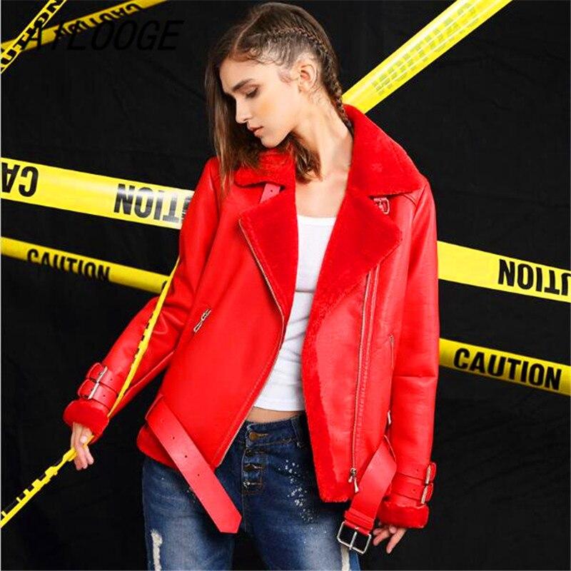 Plus Cuir Red Ailooge Cachemire Vestes Femmes D'hiver black Moto Laine Agneau En Pu 2017 Épais Nouveau Manteaux Courtes Veste Lâche UU68Rq