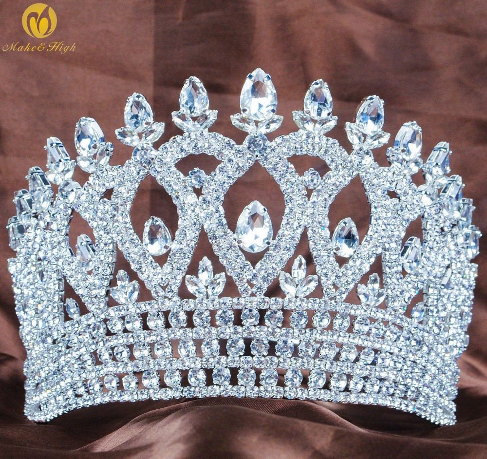 World Beauty Pageant Tiara Headband Clear Austrian Rhinestone Crown Hair Accessories Parade Wedding Bridal Party Costumes