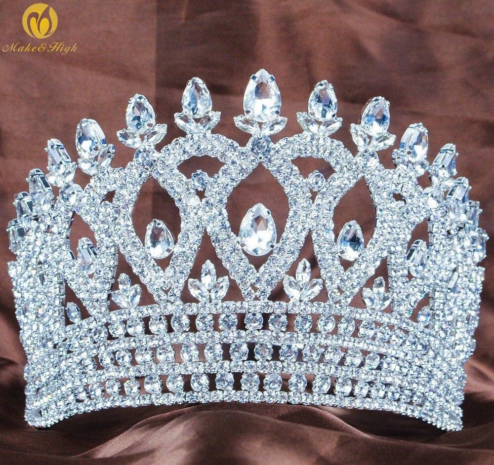 Свадебная тиара с прозрачным австрийским горным хрусталем, корона, аксессуары для волос, свадебные вечерние костюмы