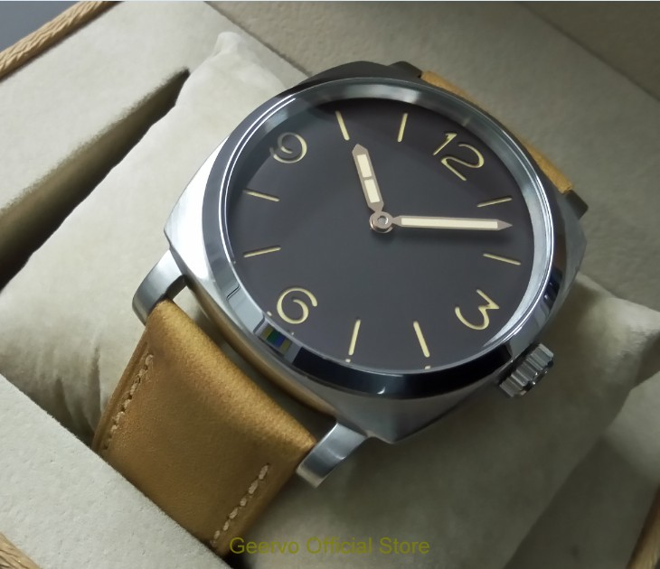 47mm GEERVO Light coffee color dial Asian 6497 17 jewels Mechanical Hand Wind movement men s
