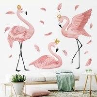 Фламинго queen стены стикеры для гостиной Спальня Детская комната Декор стены Искусство Фрески плинтус виниловые наклейки