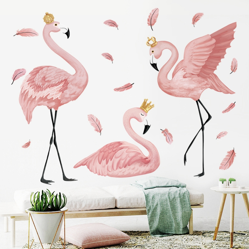 O Flamingo Rainha Adesivos de Parede para Quarto sala de estar Crianças quarto Do Berçário Decoração Da Parede Rodapé das Pinturas Murais de Arte Decalques de Vinil