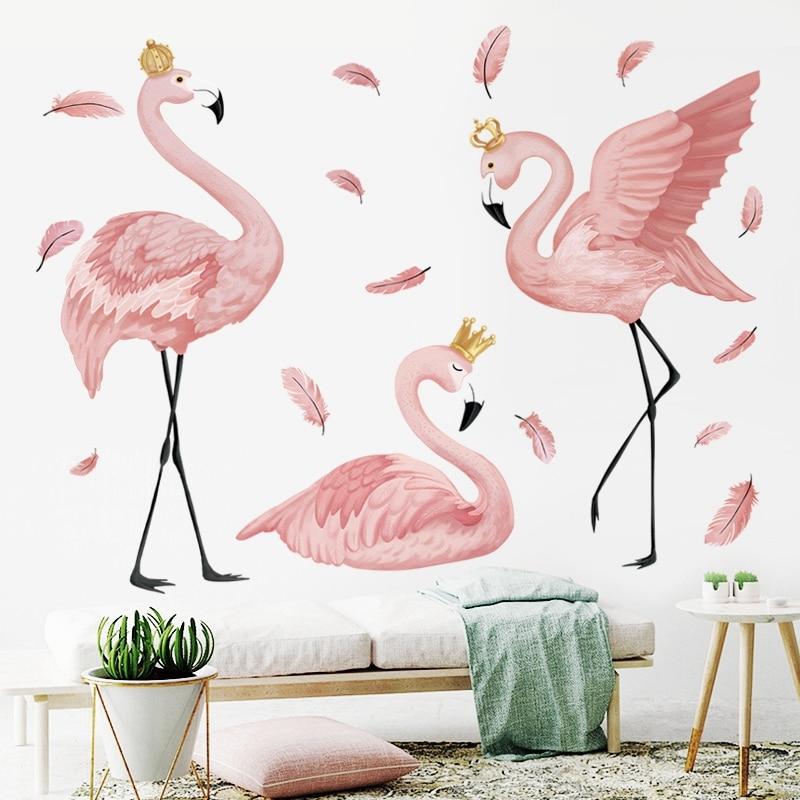 O flamingo rainha adesivos de parede para sala estar quarto crianças berçário decoração da parede arte murais rodapé vinil decalques