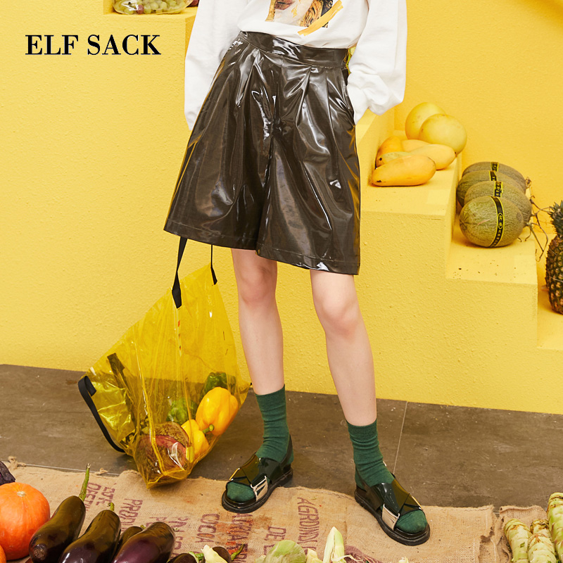 ELFSACK 2019 Spring New Pu Leather Woman Shorts Ins Fashion Oversized Women Knee Length Solid Loose Femme Wide Leg Shorts