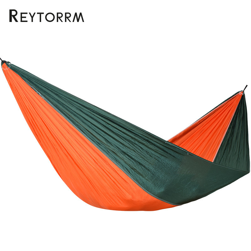 210T Nylon Fabric Hammock 1-2 Person Portable Leisure Hamac Patio Furniture Hanging Swing Chair Rede Double Flyknit outdoor double hammock portable parachute cloth 2 person hamaca hamak rede garden hanging chair sleeping travel swing hamac