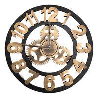 Gear clock living room retro fashion personality mechanical clock American wall clock mute big hanging clock shabby chic