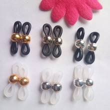 e69ed8222e9e 50pcs gold silver bead Rubber jewelry finding Connectors for Glasses Holder  Necklace Chain Eyeglasses Chains