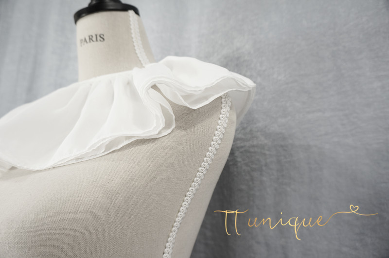 False Temperament Chiffon Crest Collar Large Exaggerated Pleated Arms Big Arms Soft And Beautiful Women's Atmosphere, White Horn