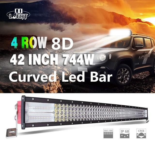 CO LIGHT 8D 42 Inch 744W Combo Beam Curved Led Light Bar Auto Work Light 12V 24V for Off-Road Lada Uaz 4WD 4x4 Boat ATV Led Bar