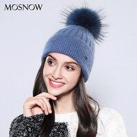 MOSNOW Women S Winter Hats Solid 2017 Autumn Winter Real Raccoon Fur Pompom Skullies Beanies Cotton