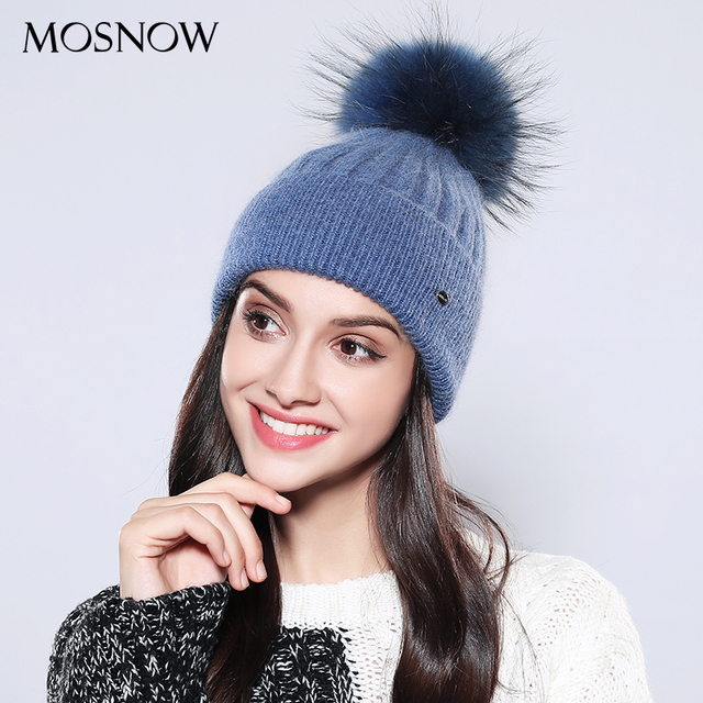 MOSNOW Women s Winter Hats Solid 2018 Autumn Winter Real Raccoon Fur Pompom  Skullies Beanies Cotton Wool Warm Knitted Cap  MZ750 41557b79482c