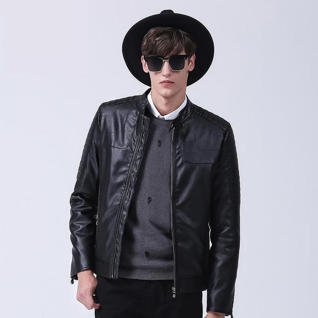 NEW Mandarin Collar  Mens Leather Jacket black zipper  Mens Leather Jackets And Coats size 3XL  Winter Jacket Men