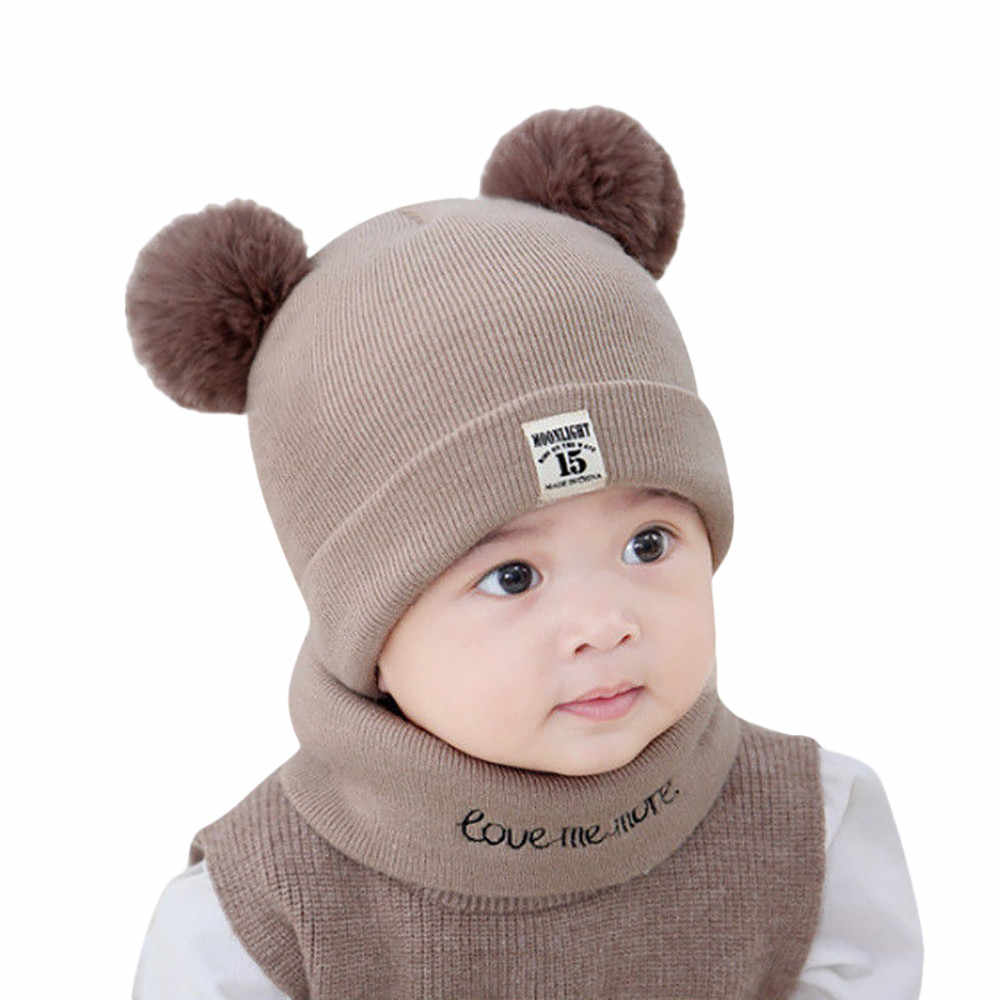 7ae18a015558c ... Kids Winter Wool Hats Scarf For Baby Boys Girls Fur Ball Pom Hat O-Collar  ...