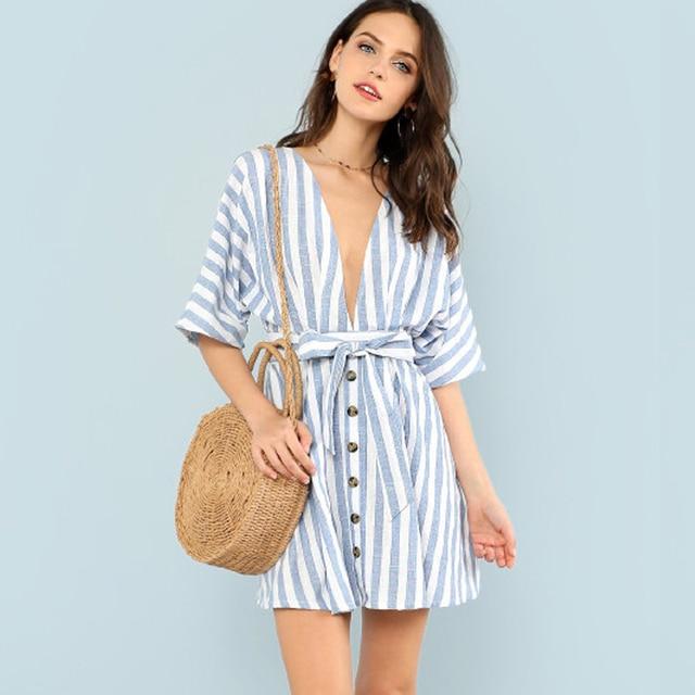 Dress Female Sexy Striped Botton Lace up Deep V Neck Dresses Summer 2018  Fashion Flare Sleeve Backless A-line Mini Dresses 232a98fb5