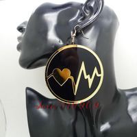 My Heart Is Waving Round And Black Mirror Acrylic Fashion Punk Drop Earring
