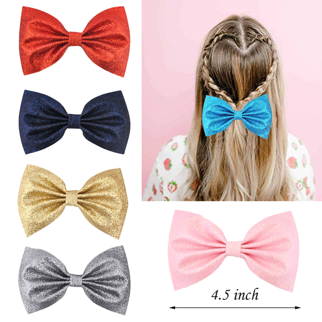 a60d1a003f479 US $0.68 43% OFF|4.5 inch Girls Kids Hair bows Hairpins Glitter Leather  Bowknot Hair Clips For Women Children Hairpns Best Gift Hair Accessories  -in ...