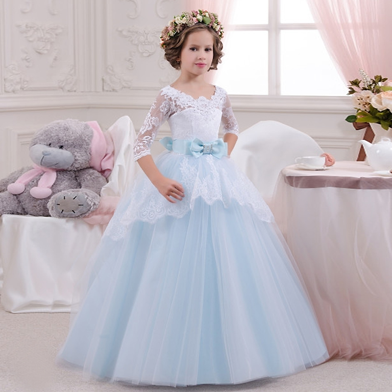 2016 Blue Girls Pageant Dresses Three Quarter Patchwork O-Neck Ball Gown with Bow Girls Long Pageant Dresses Communion Dresses girls formal dress lace three quarter ball gown backless bow sash long flower girls communion 2016 pageant dress 1 14 years old